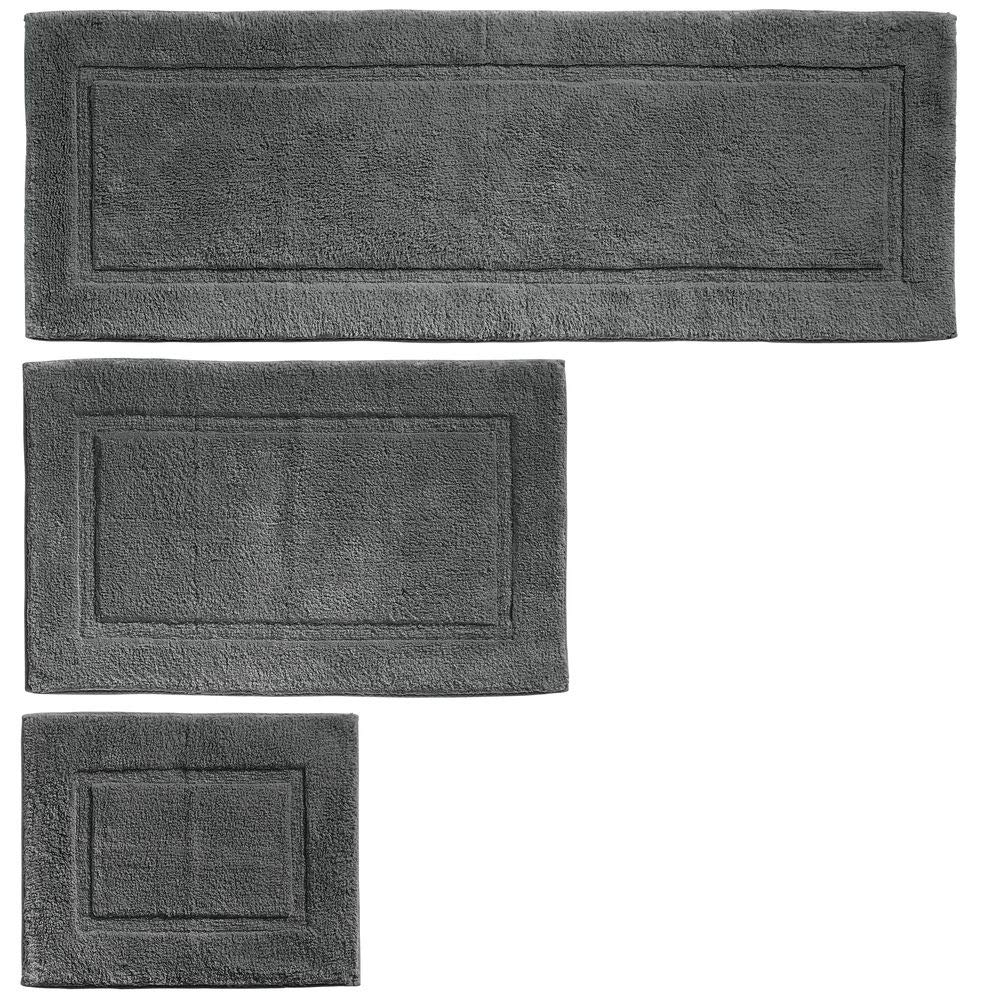 mDesign 100% Cotton Luxury Spa Mat Rugs, Plush Water Absorbent, Decorative Border - for Bathroom Vanity, Bathtub/Shower, Machine Washable - Runner, Standard & Small Rug - Set of 3 - Charcoal Gray