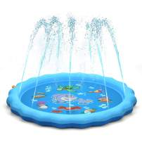 """QPAU (Upgraded 2020 Version) Sprinkler for Kids Dogs, 68"""" Sprinkle and Splash Play Mat , Kiddie Baby Shallow Pool,Outside Toys Water Toys for Kids, Outdoor Toys for Toddlers Age 3-5 (Blue)"""
