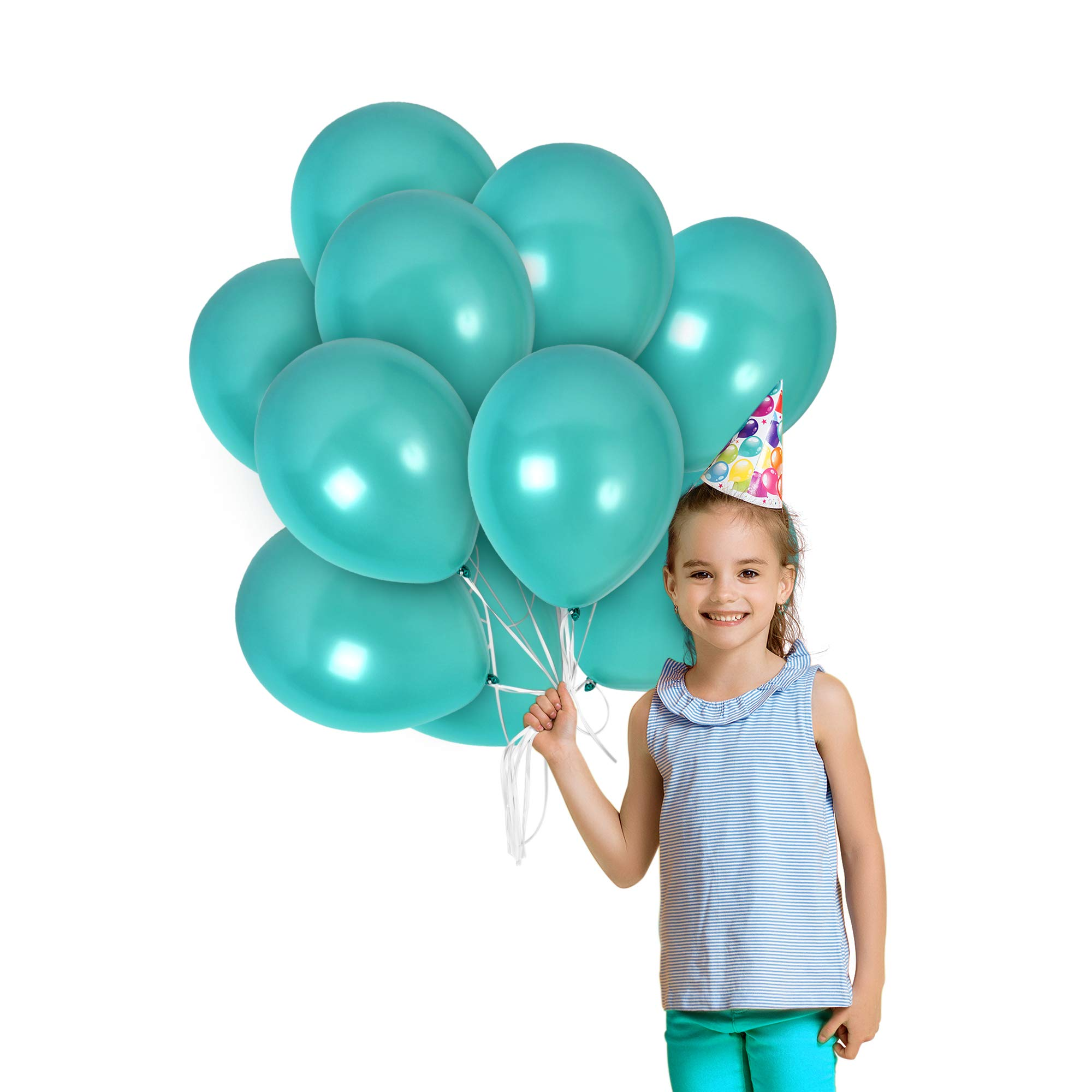Metallic Torquoise Teal Balloons Pack of 36 Pearlized Chrome Latex 12 Inch for Engagement Wedding Bridal Shower Bachelorette Birthday Graduation Party Supplies