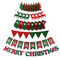 Evelyne GMT-10278 Holiday Season Christmas Banners Garlands, Party Decoration Assorted Pack, Stocking, Tree, Reindeer