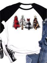Merry Christmas Plaid Leopard Printed Tree Baseball T-Shirt Womens Casual 3/4 Sleeve Letter Print Graphic Tees