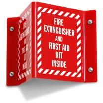"""SmartSign-S-8796-AV-06 """"Fire Extinguisher and First Aid Kit Inside"""" Projecting Sign 