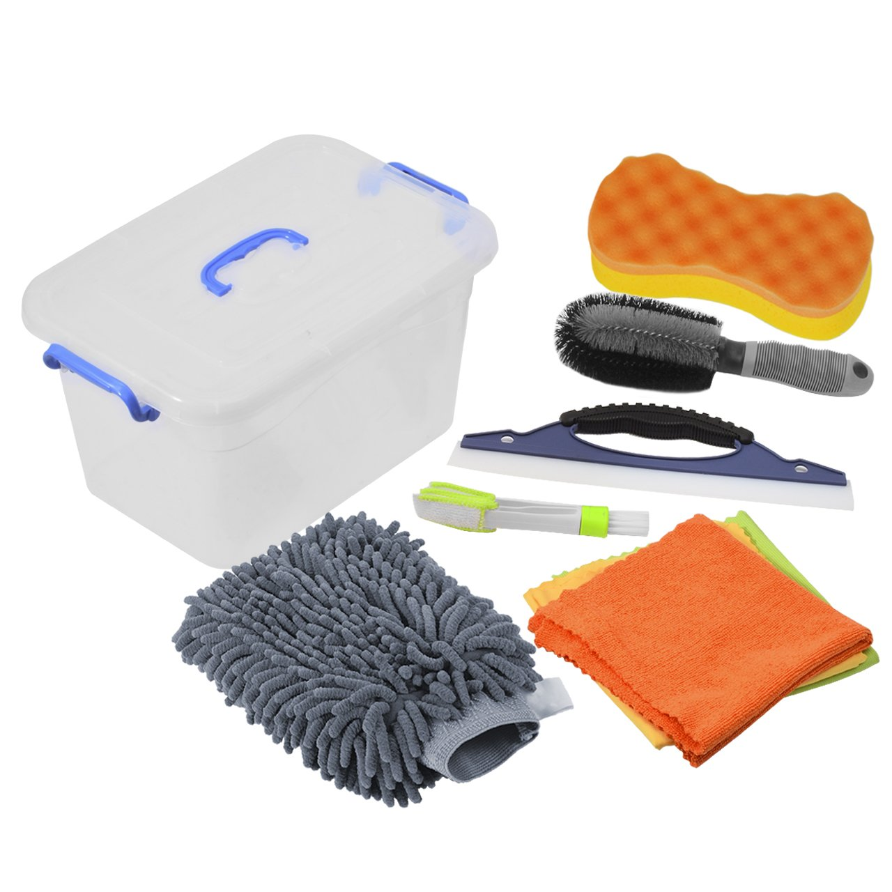 DEDC Car Cleaning Tools Kit Exterior and Interior in Box Bucket Upgraded, Car Vent Brush Tire Brush Wash Mitt Sponge Wax Applicator Microfiber Cloths Window Water Blade, Gray, Set of 7