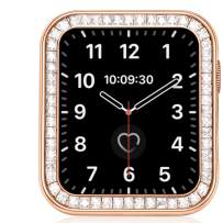 VATI Compatible for Apple Watch Case 40MM, Bling Cases with Luxury Gorgeous Large Square Crystal Diamond with Gift Box, iWatch Protective Covers for Apple Watch Series SE/6/5/4 (Rose Gold)