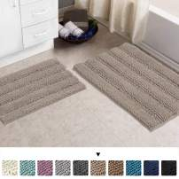 """Chenille Area Rug (Non-Slip) Kitchen and Bathroom Mat Rug Super Water Absorbent Soft Microfibers,Machine-Washable,Hand Tufted Heavy Weight,Khaki, Size 20""""X32"""" & 17""""X24"""""""