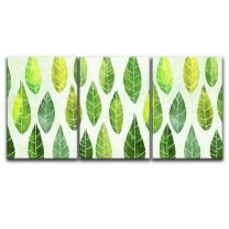 """wall26 - 3 Panel Canvas Wall Art - Watercolor Style Leaves Pattern - Giclee Print Gallery Wrap Modern Home Decor Ready to Hang - 24""""x36"""" x 3 Panels"""