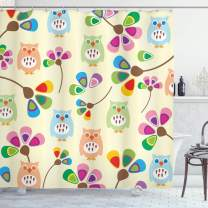 """Ambesonne Cartoon Shower Curtain, Design Owls with Flowers Leaves Branches Design for Kid Nursery Room Landscape, Cloth Fabric Bathroom Decor Set with Hooks, 70"""" Long, Pastel Beige"""