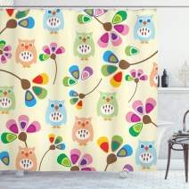 "Ambesonne Cartoon Shower Curtain, Design Owls with Flowers Leaves Branches Design for Kid Nursery Room Landscape, Cloth Fabric Bathroom Decor Set with Hooks, 70"" Long, Pastel Beige"