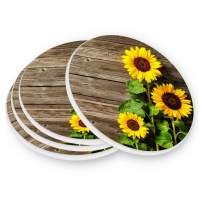 visesunny Sunflower on Wooden Board Drink Coaster Moisture Absorbing Stone Coasters with Cork Base for Tabletop Protection Prevent Furniture Damage, 4 Pieces