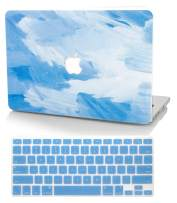 """KECC Laptop Case for MacBook Air 13"""" Retina (2020/2019/2018, Touch ID) w/Keyboard Cover Plastic Hard Shell Case A2179/A1932 2 in 1 Bundle (Blue - Water Paint)"""