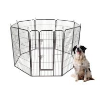 """S AFSTAR Safstar Pet Playpen, Foldable Metal Exercise Pen for Dogs Rabbits Cats, Indoor and Outdoor, 8 Panels with Door, 48""""/40"""" Dog Fence, Playing and Resting"""