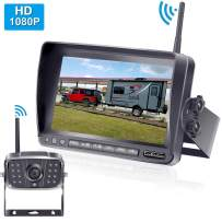 LeeKooLuu HD 1080P Digital Wireless Rear View Camera with 7'' Monitor High-Speed Observation System IP69 Waterproof Night Vision Backup Camera for RVs,Trailers,Bus,Motorhome,5th Wheels,Campers