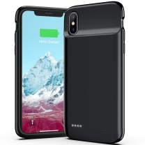 OMEETIE Battery Charging Case for iPhone X/Xs/10, 4100mAh Ultra Slim Portable Charging Case, Protective Rechargeable Charger Case Extended Battery Pack Compatible with iPhone X Xs (5.8 inch) (Black)