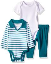 Hanes Ultimate Baby Zippin Pant with Short and Long Sleeve Polo Bodysuits Set