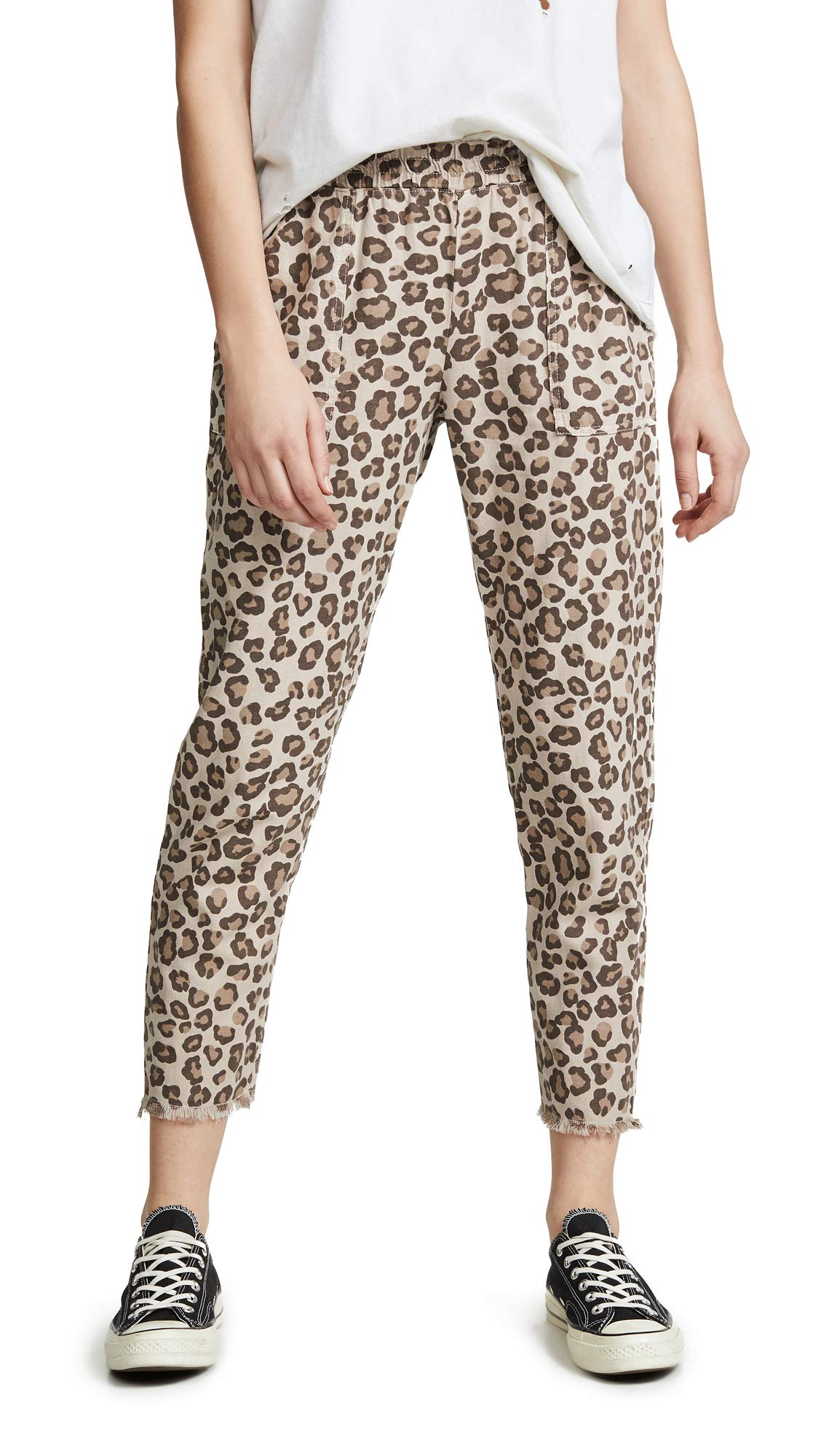 Monrow Women's Leopard Pants with Patch