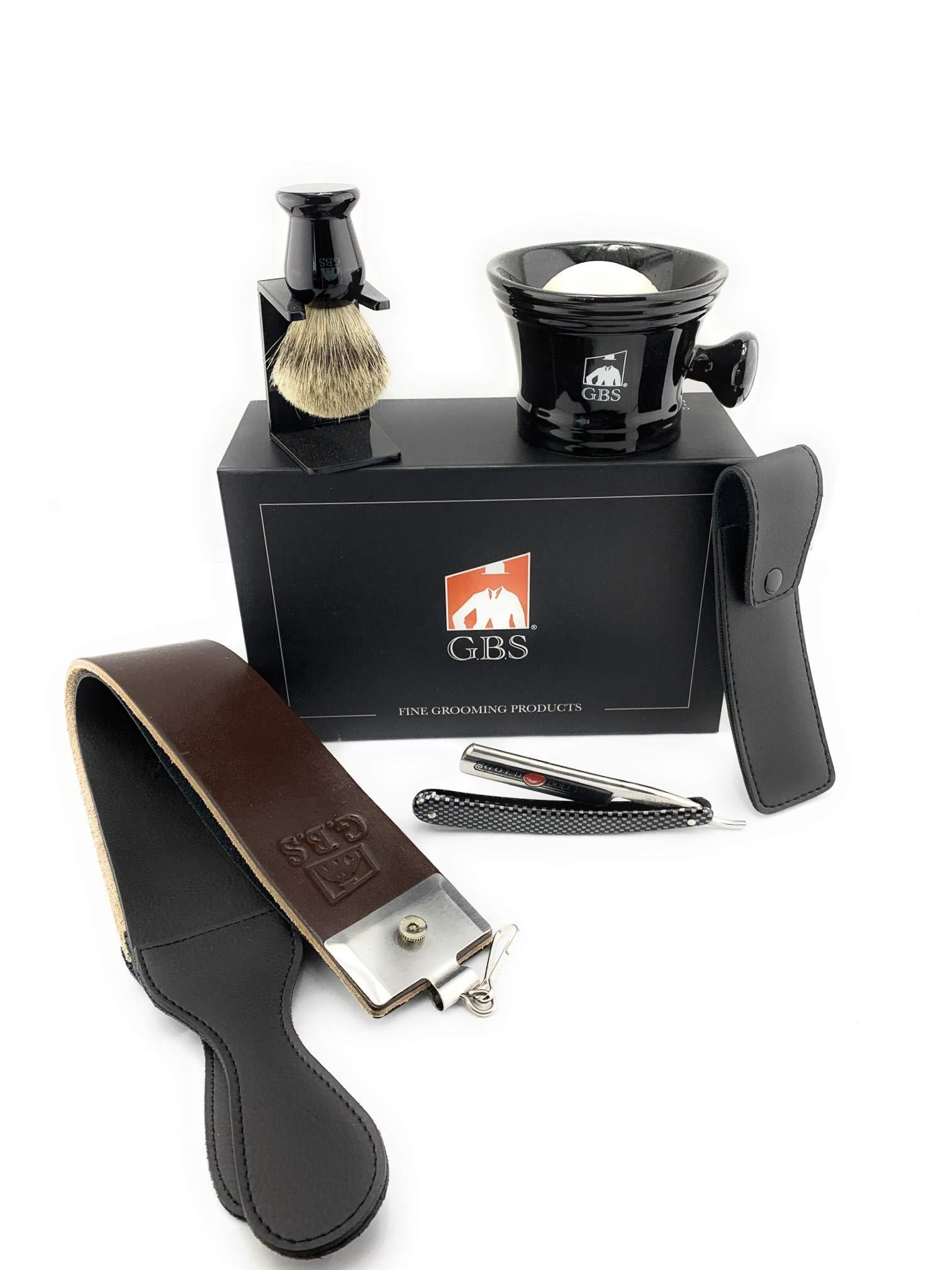 "GBS Men's Gift Set - Shave Ready Gold Dollar Straight Razor 5/8"" Carbon Steel Razor w/Faux Carbon Fiber Handle Include Shaving Mug, Pure Badge Brush, Stand Natural Shaving Soap, Razor Case & Strop"