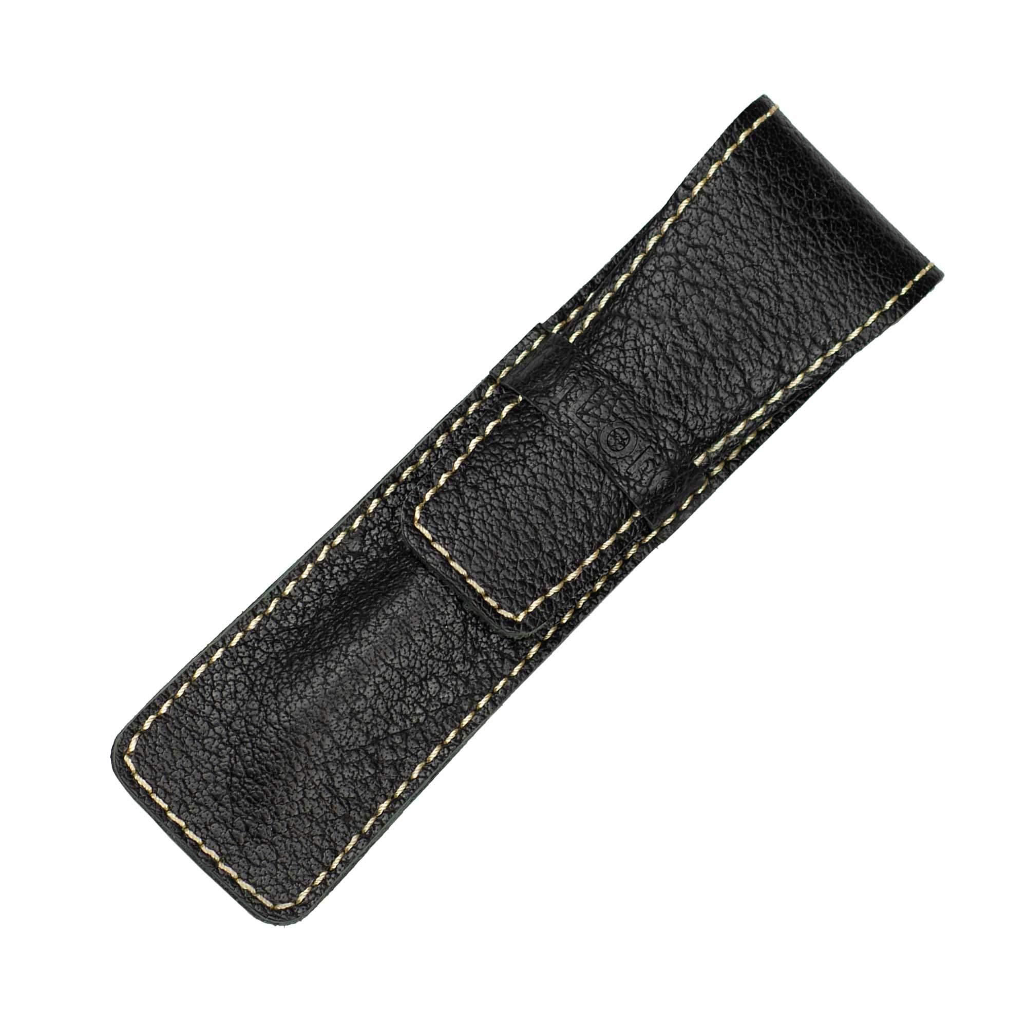 DiLoro Full Grain Top Quality Thick Buffalo Leather Single Pen Case Holder Buffalo Black