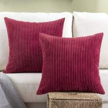 Woaboy Pack of 2 Striped Corduroy Decorative Pillow Cover Cozy Square Throw Pillowcase Super Soft Cushion Cases for Chair Bed Couch Sofa Living Room Office 18 x 18Inch 45 x 45cm Burgundy