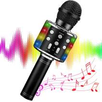 Wireless Bluetooth Karaoke Microphone for kids Adults,with LED Lights Speaker,5in1 Handheld Mic Machine for Christmas Birthday Gifts Toys for 6 7 8 9 10 11 12 Year Old Girls Boys teenagers(Black)
