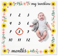 Organic Baby Monthly Milestone Blanket Girl | My Sunshine Sunflower Months Photo Blanket with Month Marker | Personalized Baby Girl Milestones | Newborn to 12 Months | Watch Me Grow