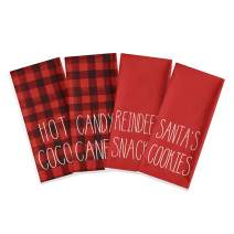 Artoid Mode Buffalo Plaid Candy Canes Hot Cocoa Reindeer Snacks Santa's Cookies Kitchen Dish Towels, 18 x 28 Inch Christmas Holiday Ultra Absorbent Drying Cloth Tea Towels for Cooking Baking Set of 4