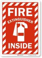 "SmartSign ""Fire Extinguisher Inside"" Label   10"" x 14"" 3M Reflective Laminated Vinyl"