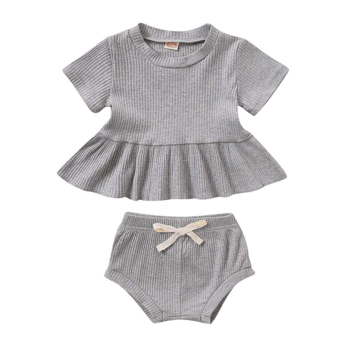 Toddler Baby Girl Short Sets Solid Color Short Sleeve Top Dress+Shorts Infant Kids Clothes Outfits Summer