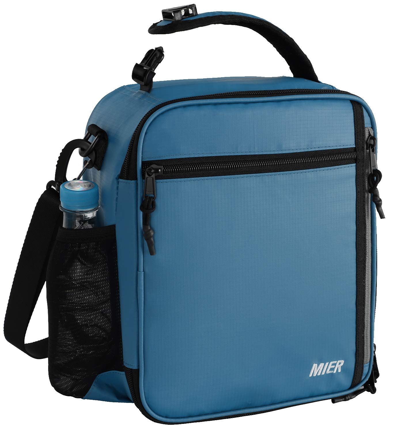 MIER Insulated Lunch Box Bag for Men Women Adult Teen Children, Lunch Cooler Bag with Shoulder Strap and Bottle Holder, 12 Can, Blue
