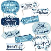 Funny Blue Elegant Cross - Boy Religious Party Photo Booth Props Kit - 10 Piece