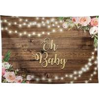 Allenjoy 7x5ft Fabric Rustic Wood Oh Baby Baby Shower Backdrop Supplies for Newborn Kids 1st Birthday Party Decorations Floral Cake Smash Pictures Studio Photography Props Favors Background Banners