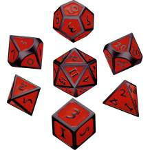 Hestya 7 Pieces Metal Dices Set DND Game Polyhedral Solid Metal D&D Dice Set with Storage Bag and Zinc Alloy with Enamel for Role Playing Game Dungeons and Dragons, Math Teaching (Black Edge Red)