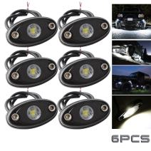 LEDMIRCY LED Rock Lights White 6PCS Kit for JEEP Off Road Truck Auto Car Boat RZR ATV SUV Waterproof High Power Neon Trail Rig Lights Shockproof(Pack of 6,White)