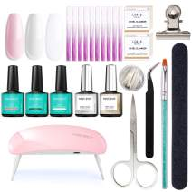 Fiberglass Nail Kit for Nail Art Quick Extension Gel, All-in-One Kit With Instruction Manual, LED Lamp, Fiberglass, Base and Top Coat, Nail Form Clip, Tweezer, Brush, Nail File Buffer, Cleanser
