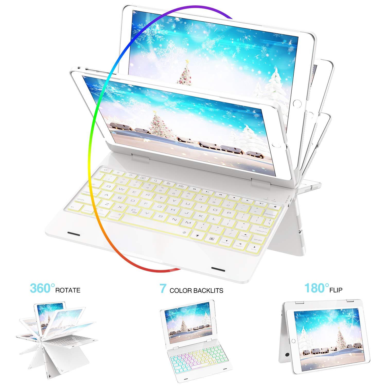SZILBZ iPad Keyboard Case 9.7 for iPad 2018(6th Gen)-iPad 2017 (5th Gen)-iPad Pro 9.7-iPad Air 2&1-360 Rotatable & 180 Flip Ultrathin -7 Color Backlit-Auto Wake Sleep((Bright White)