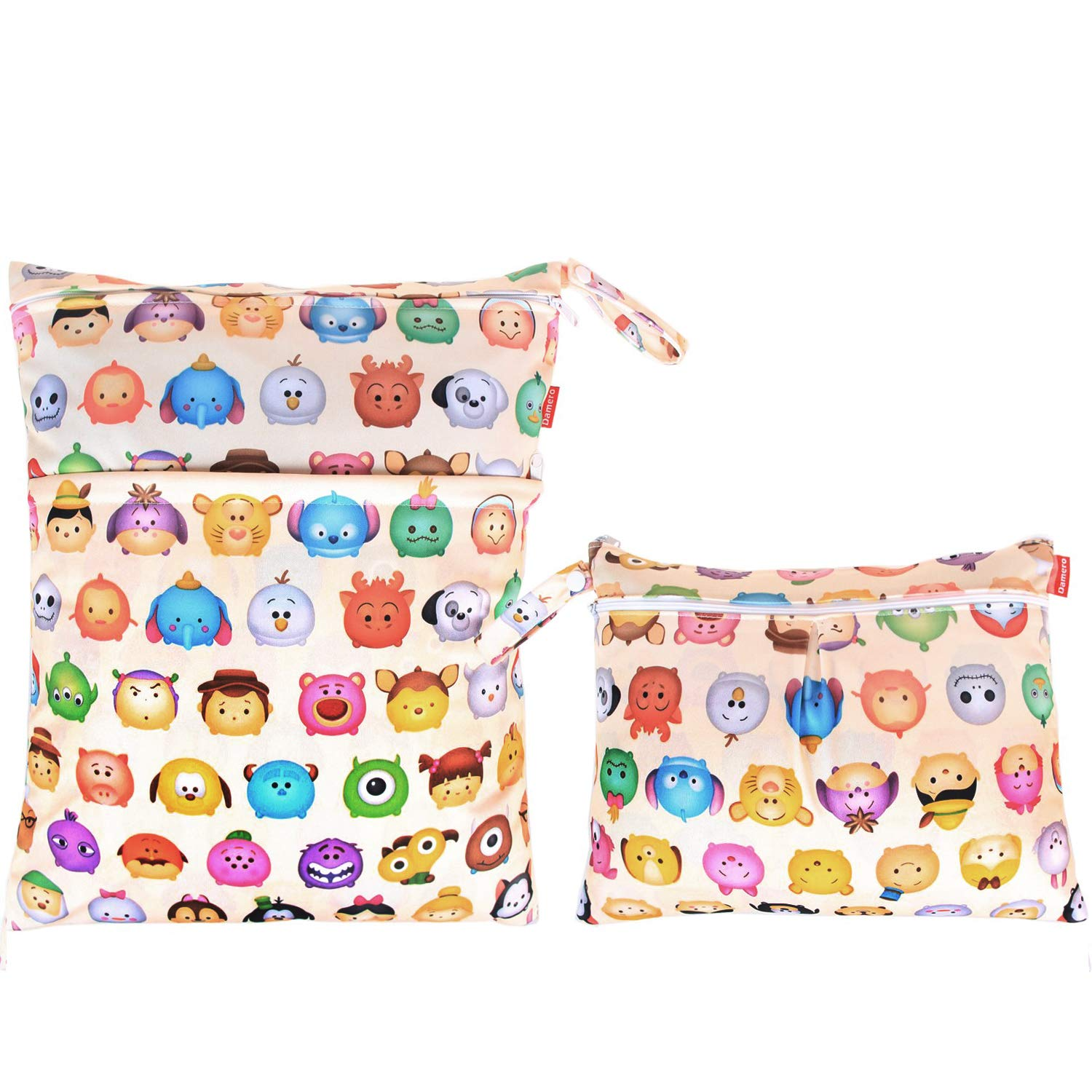 Damero 2pcs Travel Wet and Dry Bag, Reusable Wet Bags Organizer with Two Zippered Pocket for Cloth Diaper, Pumping Parts, Swimsuit and Gym, Cartoon Animals