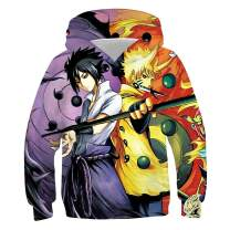 OPCOLV Boys Naruto Hoodies Cool Anime Sweatshirts 3D Graphic Hooded Pullovers Jacket with Big Pockets 6-16 Years