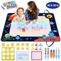 VAJEME Doodle Mat Extra Large, Space Aqua Magic Mat, Double Sided Water Drawing Mat 40 x 32 Inch for Toddlers with 20 Accessories, Math Games Creative Educational Toys for Kids 2 Year Old+