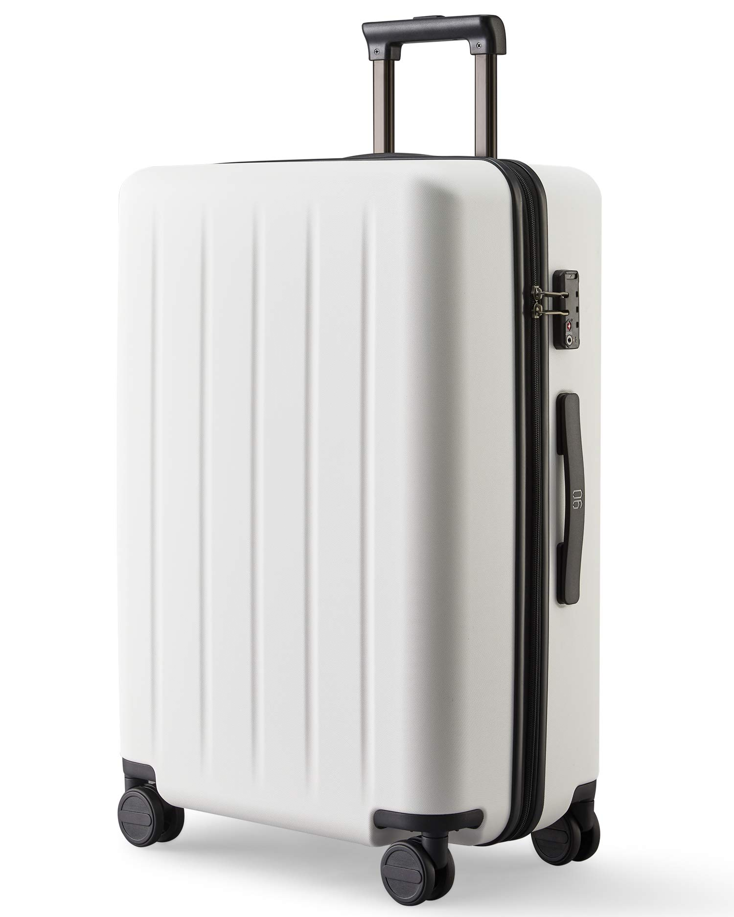 NINETYGO Carry on Luggage 22x14x9 with Spinner Wheels, 100% Polycarbonate Hardside, Lightweight TSA Compliant Hardshell Suitcase for Travel & Business Trip (20-Inch White)