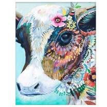 LIUDAO Paint by Number for Kids and Adults DIY Oil Painting on Canvas Hand Painted - Colourful Cow (16x20 inch,Frameless)