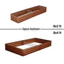 Leisurelife Metal Raised Garden Bed Planter Box Kits for Vegetables Outdoor, Brown, Steel, 8x2ft