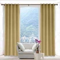 Macochico Luxury Linen Textured Curtains Antique Bronze Grommet Room Darkening Drapes Panels Window Curtain Drapes for Living Room Front Doors Khaki 100W x 96L(1 Panel)