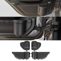YOCTM Front and Rear Door Organizer Tray For 2018 2019 2020 Jeep Wrangler JL JLU Rubicon Sport Sahara 2020 Gladiator Interior Storage Accessories Black (Front Door + Rear Door)