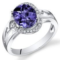 Peora 14K White Gold Oval Simulated Alexandrite Diamond Ring (3.4 cttw)