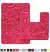 Gorilla Grip Original Shaggy Chenille 2 Piece Area Rug Set, Includes Square U-Shape Contoured Toilet Mat & 30x20 Bathroom Rugs, Machine Wash/Dry Mats, Plush Rugs for Tub Shower & Bath Room, Hot Pink