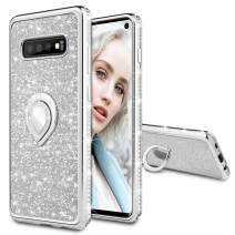 Maxdara Case for Galaxy S10 Glitter Case with Ring Holder Rhinestone Kickstand Series with Bling Sparkle Diamond Protective Bumper Luxury Pretty Fashion Girls Women S10 Case (Silver)