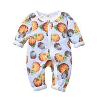 Infant Toddler Baby Girls Boys Bodysuit Pumpkin Zipper Romper One-Piece Long Sleeve Romper Jumpsuit Fall Clothes
