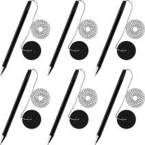 Secure Pen with Adhesive Pen Chain and Security Pen Holder for Home Office Supplies, Black Ink (6 Pieces)