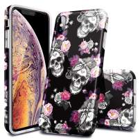 Fingic iPhone Xs MAX Case, Floral Skull Flower Pattern Clear Design Transparent Plastic Back Case Soft TPU Bumper Protective Case Cover for iPhone Xs MAX 6.5 inch, Black