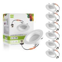 ASD (6 Pack) 4 Inch LED Recessed Light - Dimmable Round Retrofit Downlight - Baffle Trim, 9 Watt (65W Replacement) 600 Lm, CRI 90, 4000K Bright Light, Wet Rated, Can Installation, ETL and Energy Star