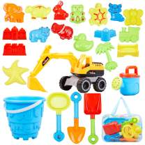 Ayukawa 23 Pcs Beach Sand Toys ,Castle,Excavator,Watering can, Mold, Shovel,Outdoor Tool Kit for Kids, Toddlers, Boys and Girls